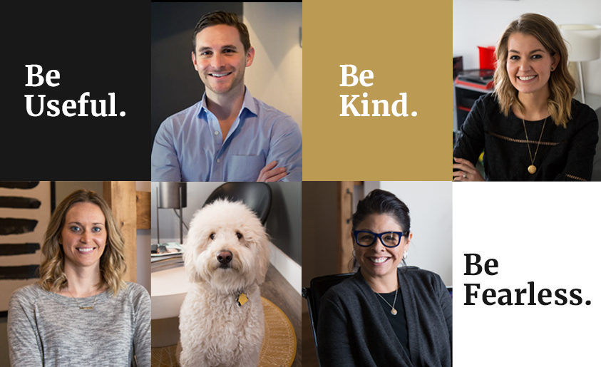 A collage of Leverage employees with the phrase 'be useful, be kind, be fearless'